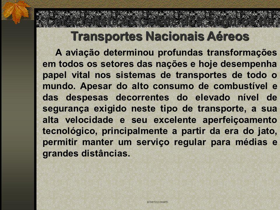 albertopossetti Características Gerais dos Seguros de Transportes Nacionais Aéreos A aviação determinou profundas transformações em todos os setores d