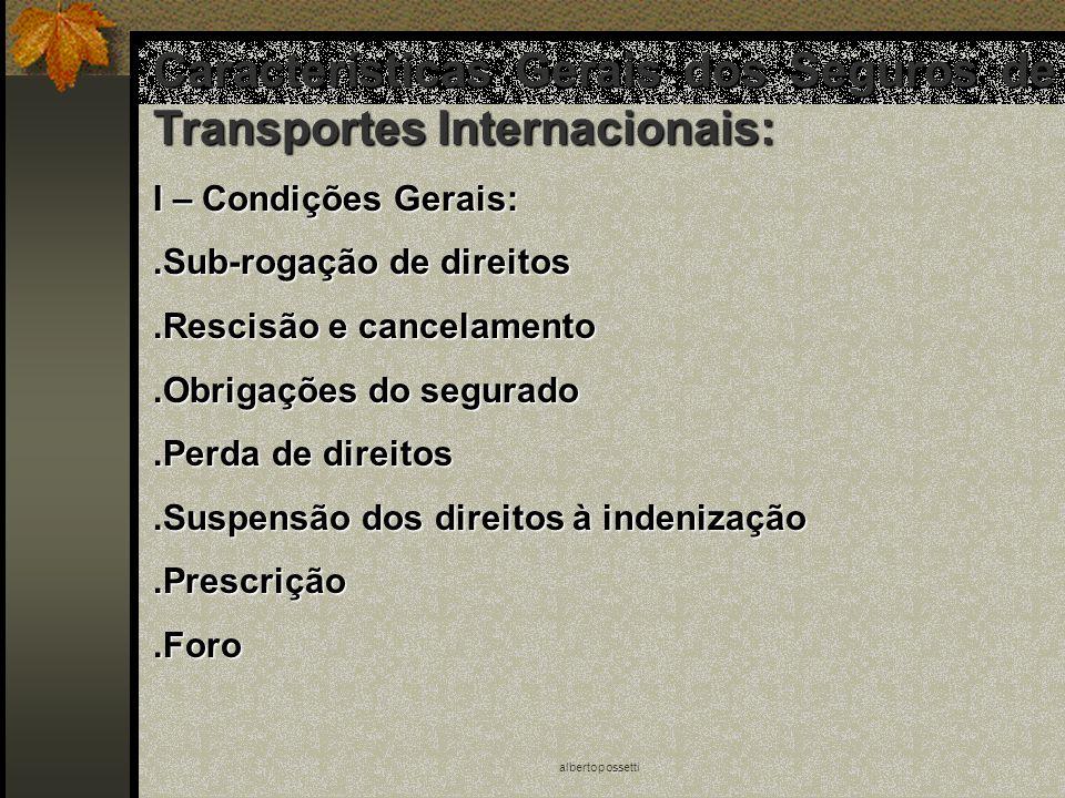 albertopossetti Características Gerais dos Seguros de Transportes Internacionais: I – Condições Gerais:.Sub-rogação de direitos.Rescisão e cancelament