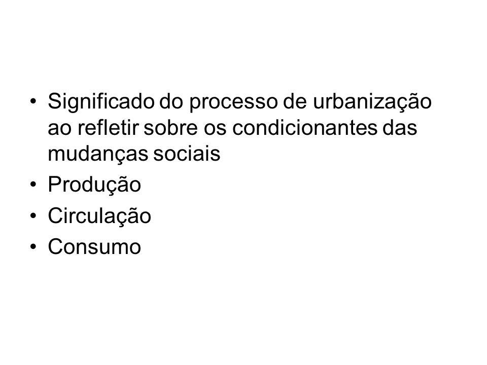 Significado do processo de urbanização ao refletir sobre os condicionantes das mudanças sociais Produção Circulação Consumo