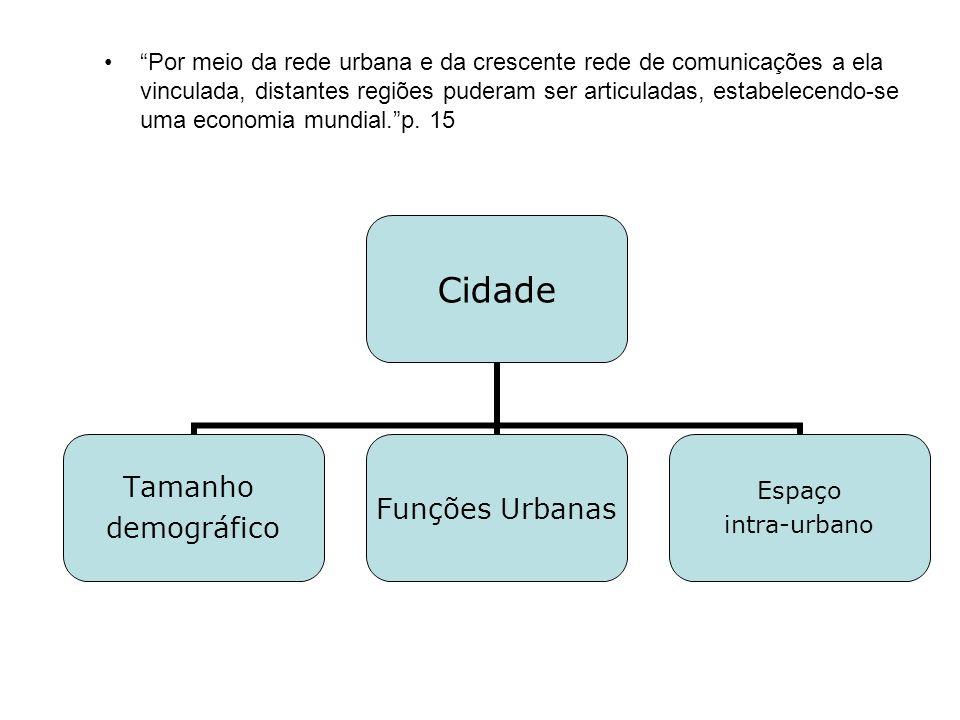 Por meio da rede urbana e da crescente rede de comunicações a ela vinculada, distantes regiões puderam ser articuladas, estabelecendo-se uma economia