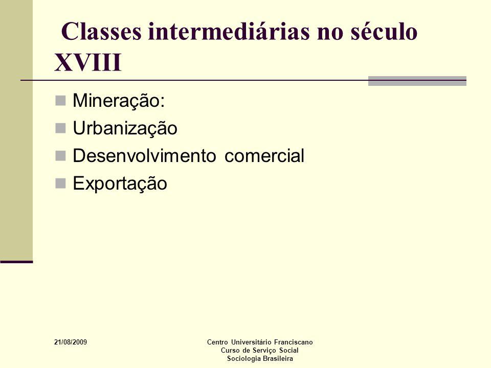 21/08/2009 Centro Universitário Franciscano Curso de Serviço Social Sociologia Brasileira Classes intermediárias no século XVIII Mineração: Urbanizaçã