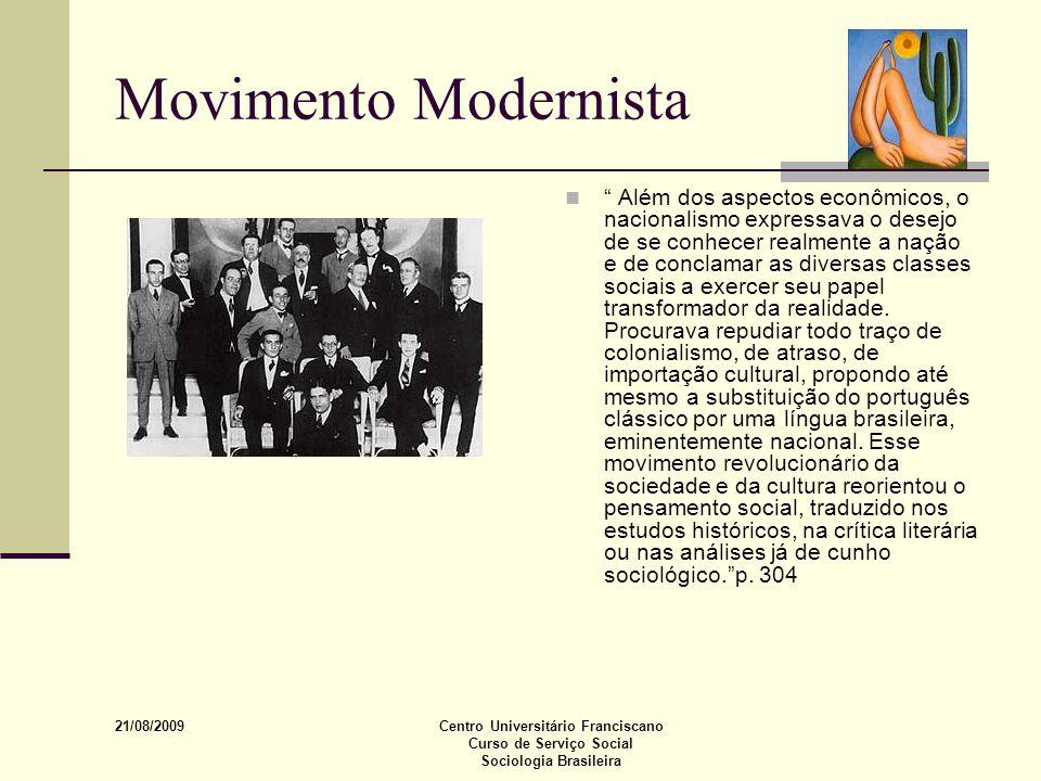 21/08/2009 Centro Universitário Franciscano Curso de Serviço Social Sociologia Brasileira Movimento Modernista Além dos aspectos econômicos, o naciona