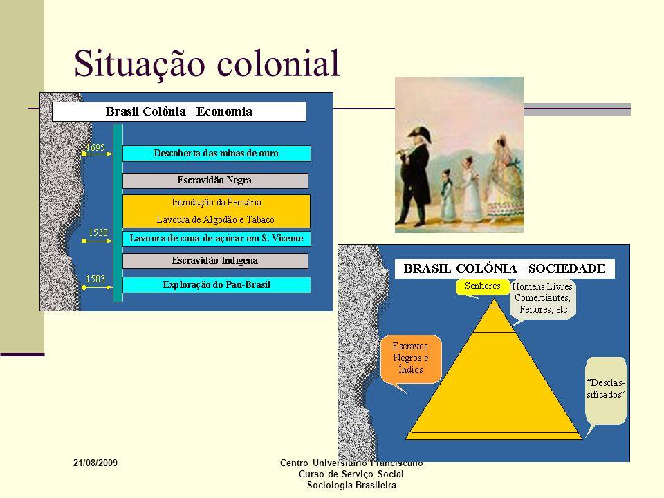 21/08/2009 Centro Universitário Franciscano Curso de Serviço Social Sociologia Brasileira Situação colonial
