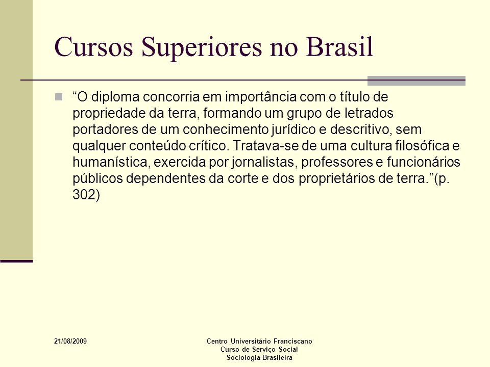 21/08/2009 Centro Universitário Franciscano Curso de Serviço Social Sociologia Brasileira Cursos Superiores no Brasil O diploma concorria em importânc