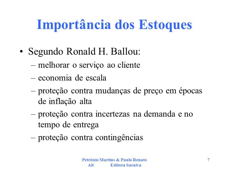 Petrônio Martins & Paulo Renato Alt Editora Saraiva 7 Importância dos Estoques Segundo Ronald H. Ballou: –melhorar o serviço ao cliente –economia de e