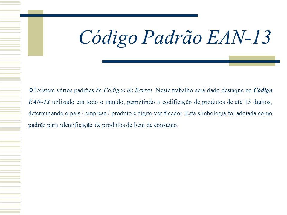 Código Padrão EAN-13 Existem vários padrões de Códigos de Barras. Neste trabalho será dado destaque ao Código EAN-13 utilizado em todo o mundo, permit