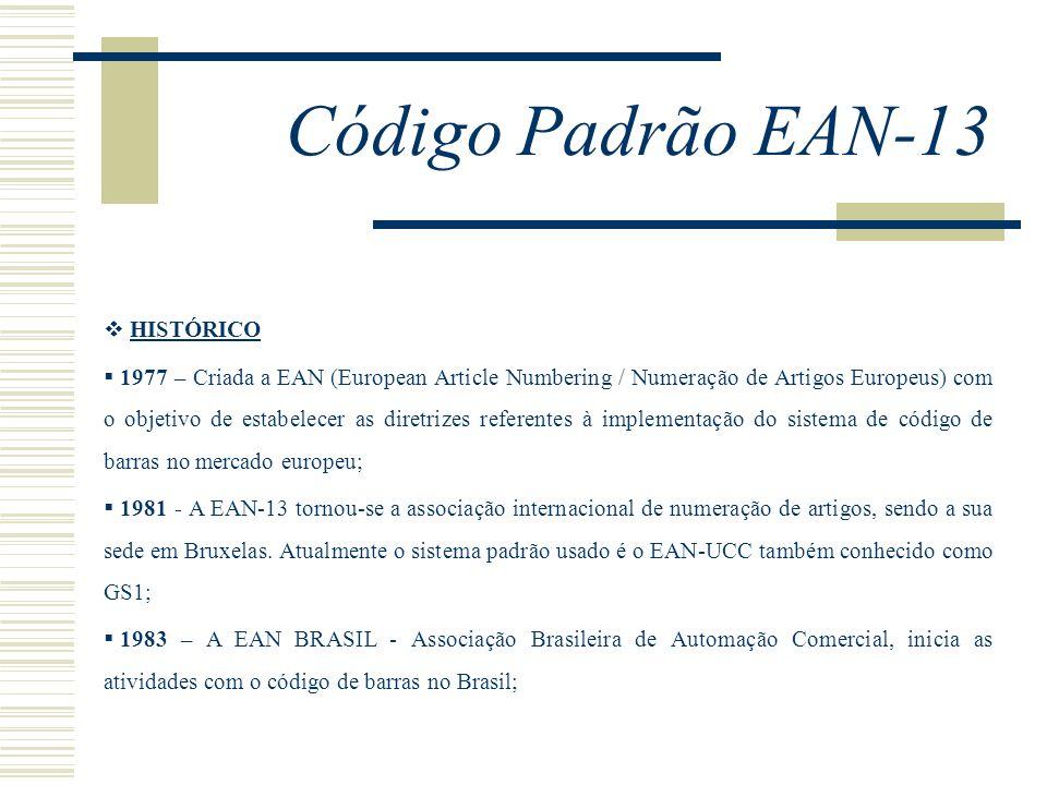 Código Padrão EAN-13 HISTÓRICO 1977 – Criada a EAN (European Article Numbering / Numeração de Artigos Europeus) com o objetivo de estabelecer as diret