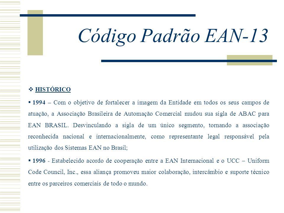 Código Padrão EAN-13 HISTÓRICO 1994 – Com o objetivo de fortalecer a imagem da Entidade em todos os seus campos de atuação, a Associação Brasileira de