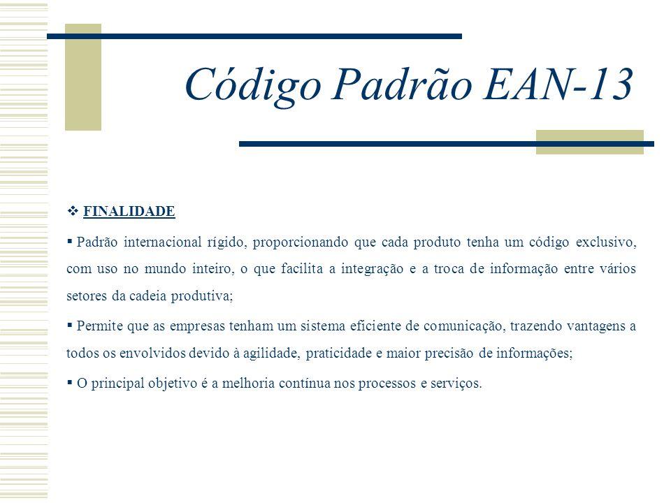 Código Padrão EAN-13 FINALIDADE Padrão internacional rígido, proporcionando que cada produto tenha um código exclusivo, com uso no mundo inteiro, o qu