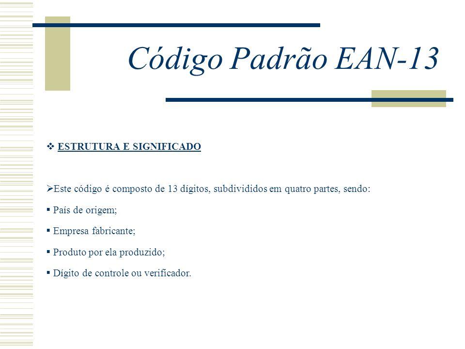 Código Padrão EAN-13 ESTRUTURA E SIGNIFICADO Este código é composto de 13 dígitos, subdivididos em quatro partes, sendo: País de origem; Empresa fabri