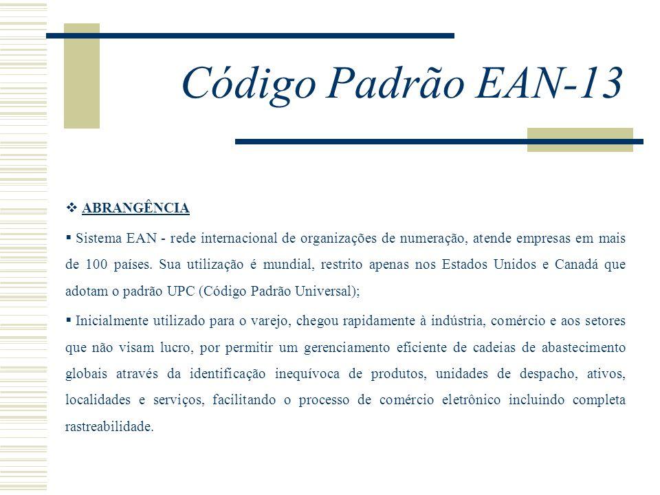 Código Padrão EAN-13 ABRANGÊNCIA Sistema EAN - rede internacional de organizações de numeração, atende empresas em mais de 100 países. Sua utilização