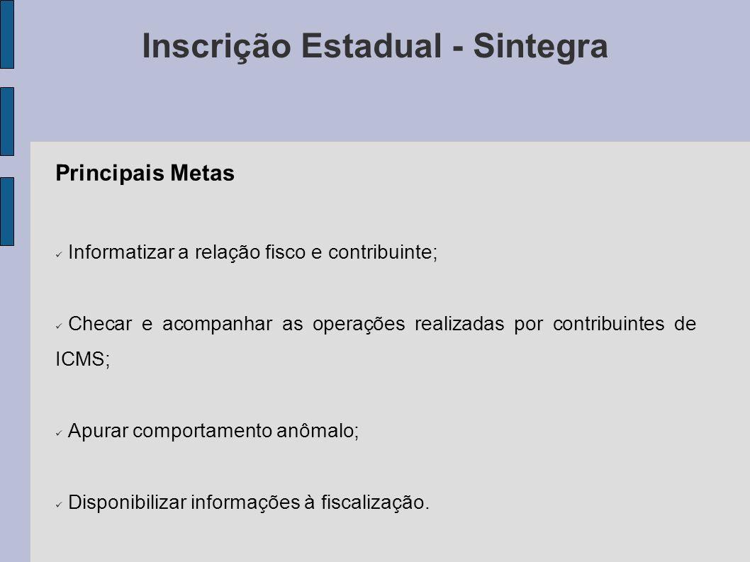 Principais Metas Informatizar a relação fisco e contribuinte; Checar e acompanhar as operações realizadas por contribuintes de ICMS; Apurar comportamento anômalo; Disponibilizar informações à fiscalização.