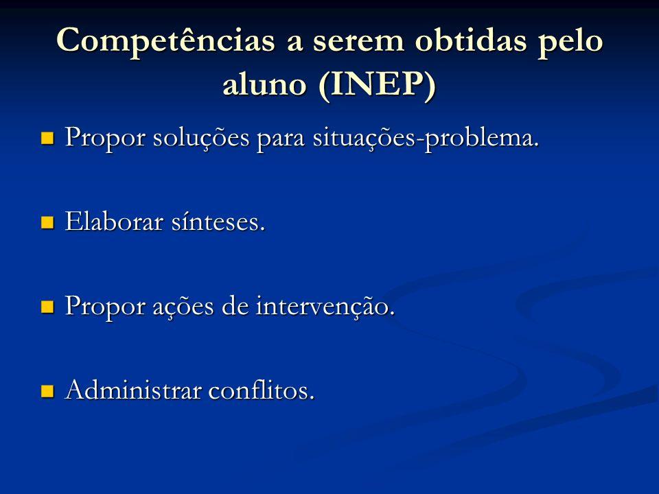 Competências a serem obtidas pelo aluno (INEP) Propor soluções para situações-problema. Propor soluções para situações-problema. Elaborar sínteses. El