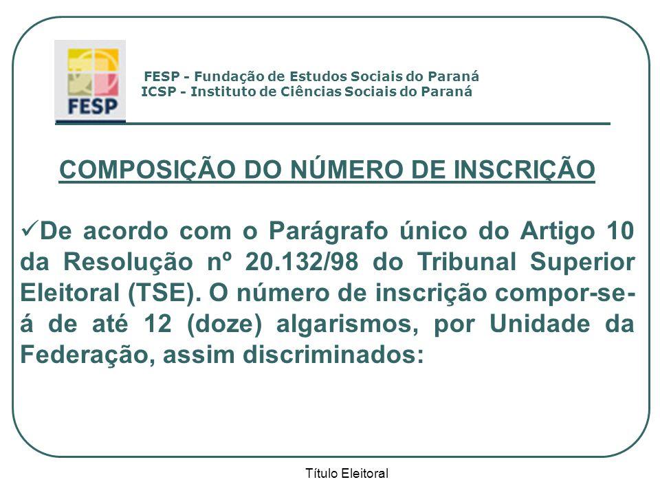 Título Eleitoral COMPOSIÇÃO DO NÚMERO DE INSCRIÇÃO De acordo com o Parágrafo único do Artigo 10 da Resolução nº 20.132/98 do Tribunal Superior Eleitor