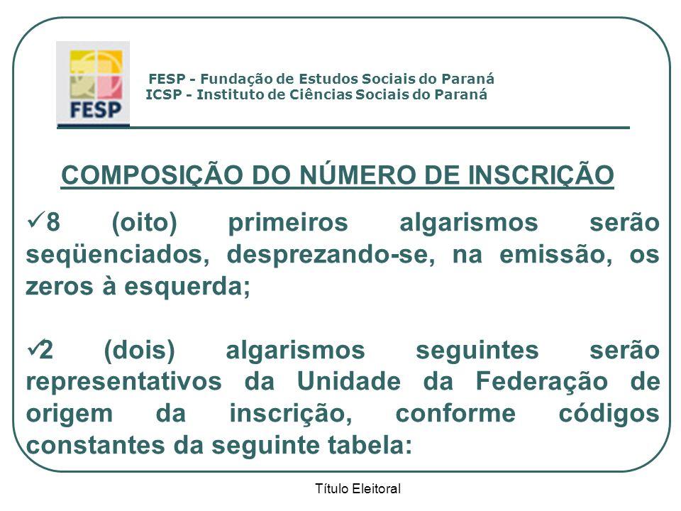 Título Eleitoral COMPOSIÇÃO DO NÚMERO DE INSCRIÇÃO 8 (oito) primeiros algarismos serão seqüenciados, desprezando-se, na emissão, os zeros à esquerda;