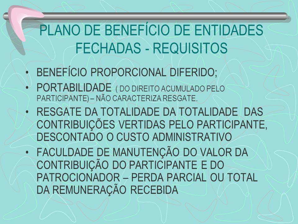 PLANO DE BENEFÍCIO DE ENTIDADES FECHADAS - REQUISITOS BENEFÍCIO PROPORCIONAL DIFERIDO; PORTABILIDADE ( DO DIREITO ACUMULADO PELO PARTICIPANTE) – NÃO C