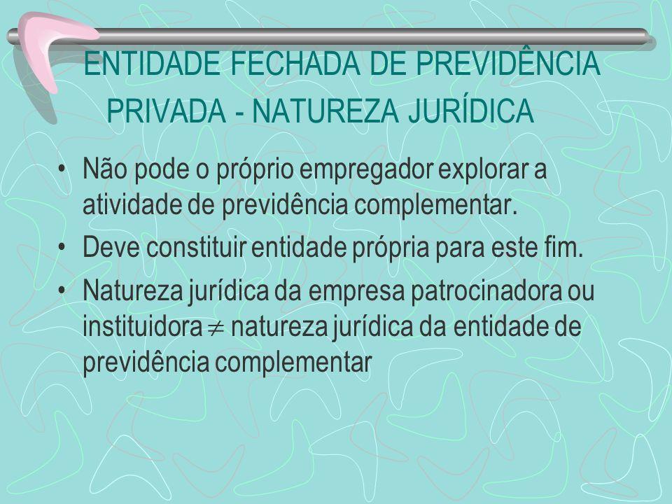 ENTIDADE FECHADA DE PREVIDÊNCIA PRIVADA - NATUREZA JURÍDICA Não pode o próprio empregador explorar a atividade de previdência complementar. Deve const