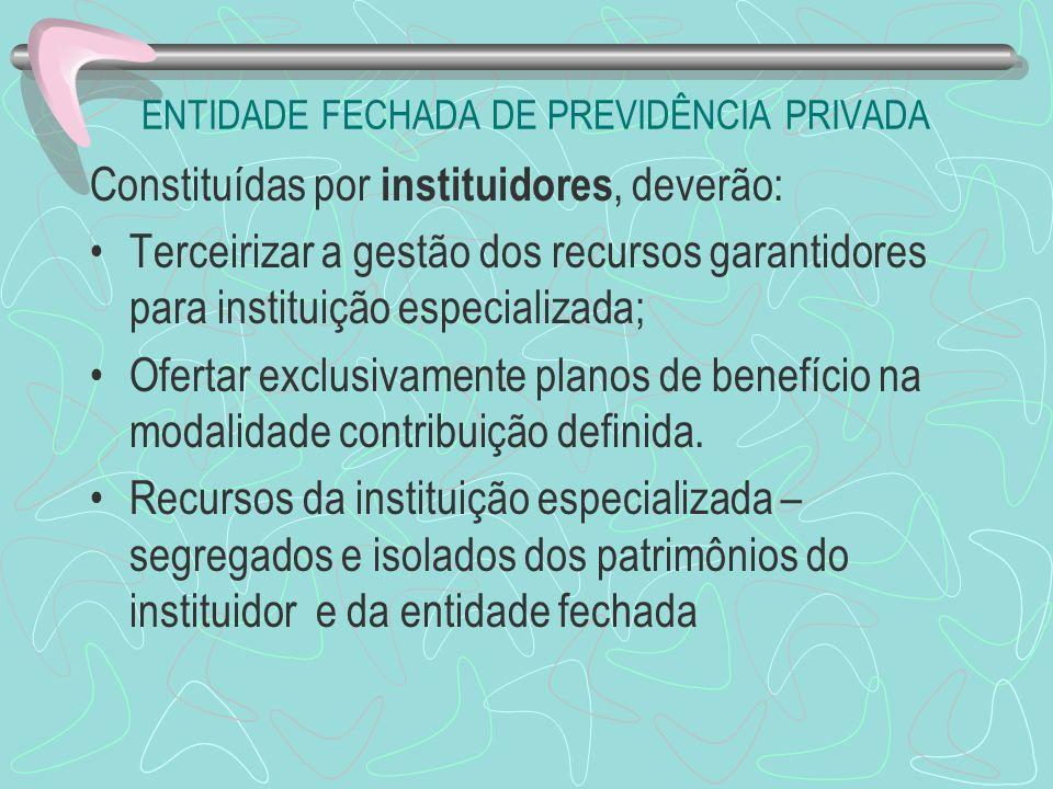 ENTIDADE FECHADA DE PREVIDÊNCIA PRIVADA Constituídas por instituidores, deverão: Terceirizar a gestão dos recursos garantidores para instituição espec