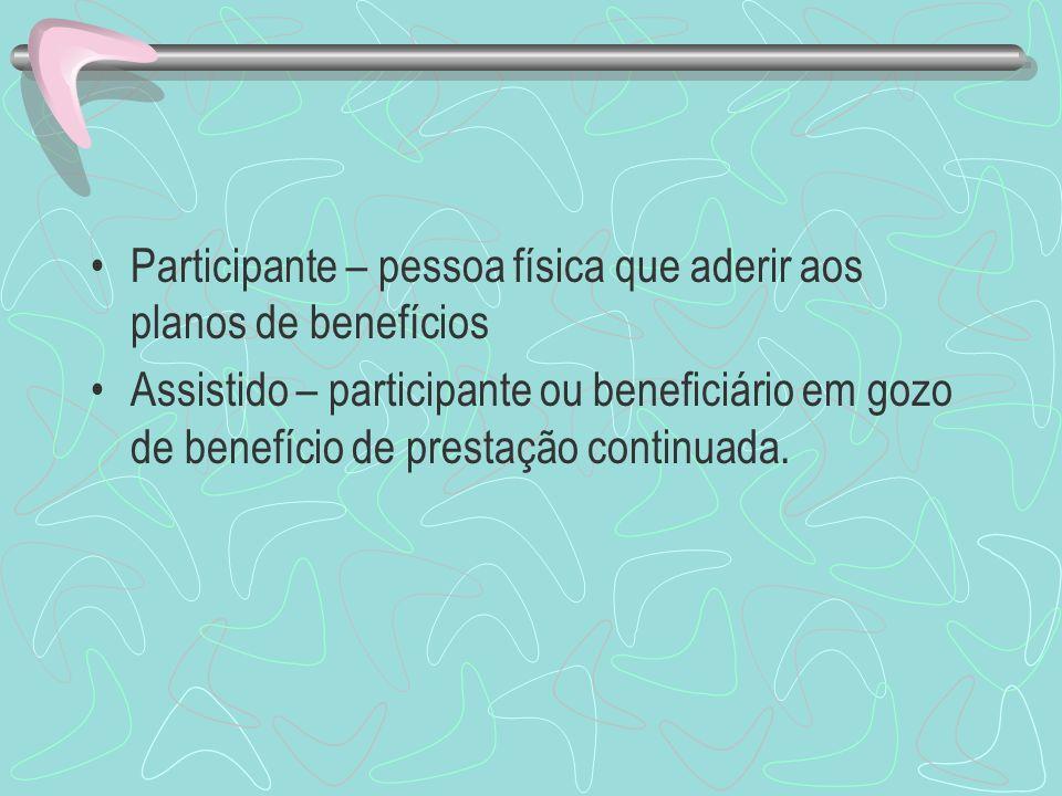 Participante – pessoa física que aderir aos planos de benefícios Assistido – participante ou beneficiário em gozo de benefício de prestação continuada