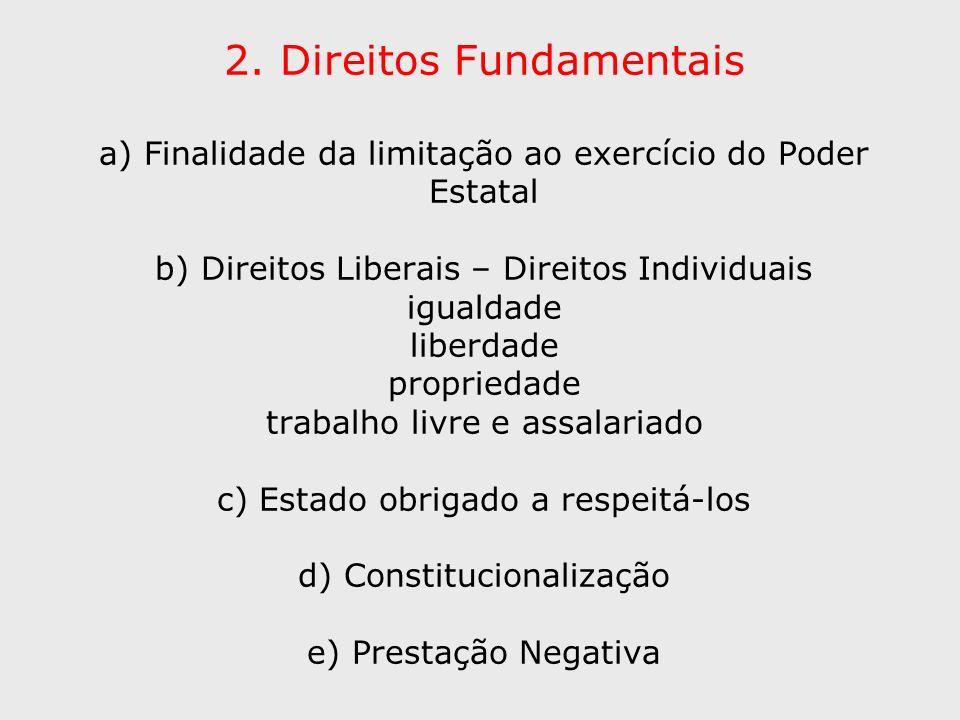 2. Direitos Fundamentais a) Finalidade da limitação ao exercício do Poder Estatal b) Direitos Liberais – Direitos Individuais igualdade liberdade prop