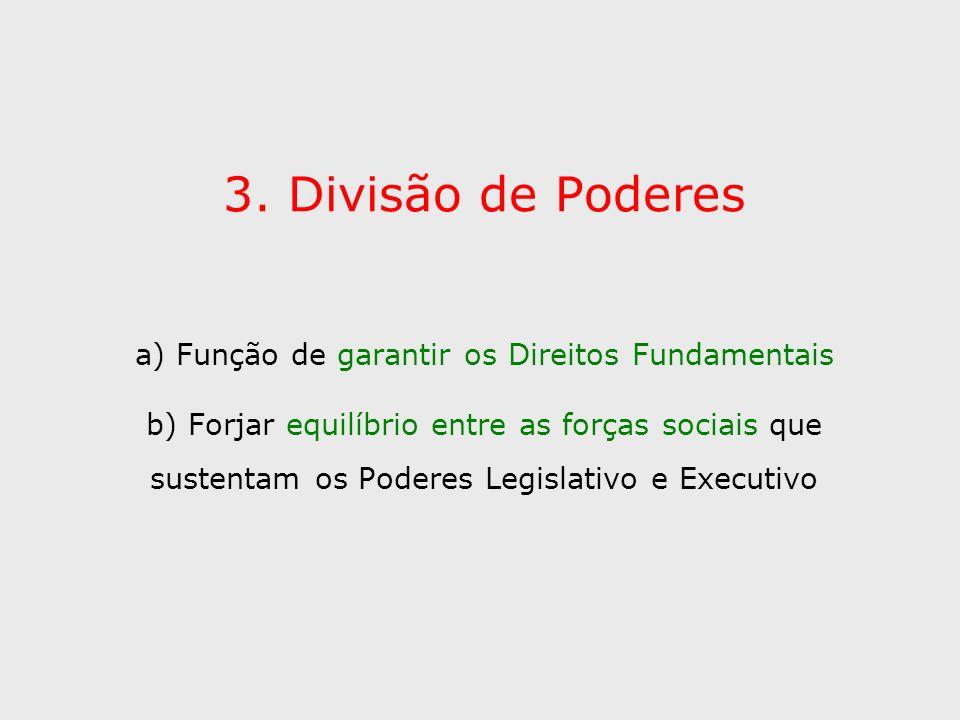 3. Divisão de Poderes a) Função de garantir os Direitos Fundamentais b) Forjar equilíbrio entre as forças sociais que sustentam os Poderes Legislativo