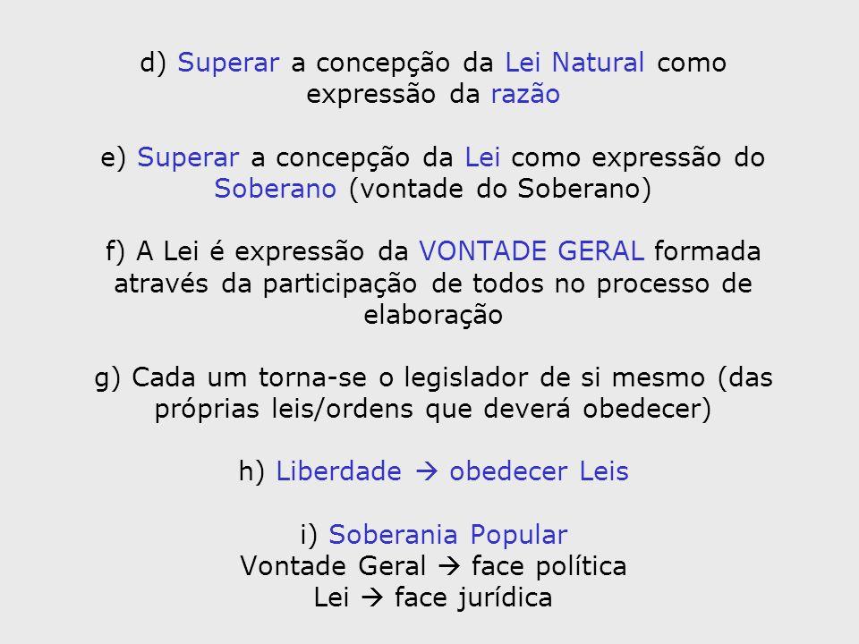 d) Superar a concepção da Lei Natural como expressão da razão e) Superar a concepção da Lei como expressão do Soberano (vontade do Soberano) f) A Lei