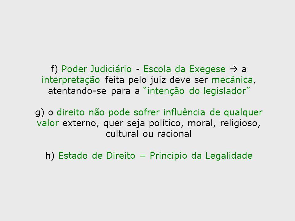 f) Poder Judiciário - Escola da Exegese a interpretação feita pelo juiz deve ser mecânica, atentando-se para a intenção do legislador g) o direito não