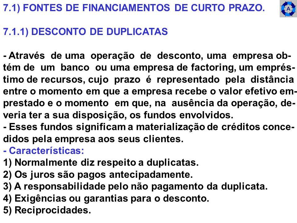 7.1) FONTES DE FINANCIAMENTOS DE CURTO PRAZO. 7.1.1) DESCONTO DE DUPLICATAS - Através de uma operação de desconto, uma empresa ob- tém de um banco ou