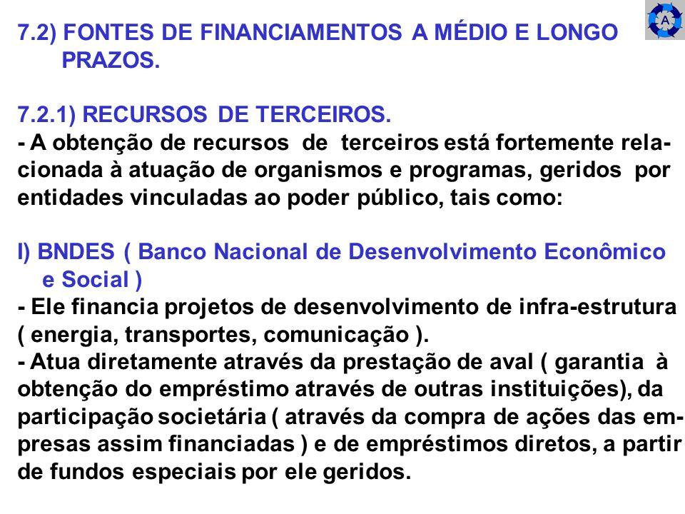 7.2) FONTES DE FINANCIAMENTOS A MÉDIO E LONGO PRAZOS.