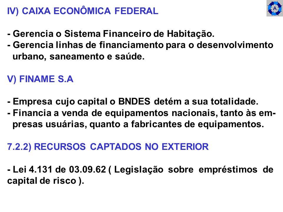 IV) CAIXA ECONÔMICA FEDERAL - Gerencia o Sistema Financeiro de Habitação. - Gerencia linhas de financiamento para o desenvolvimento urbano, saneamento