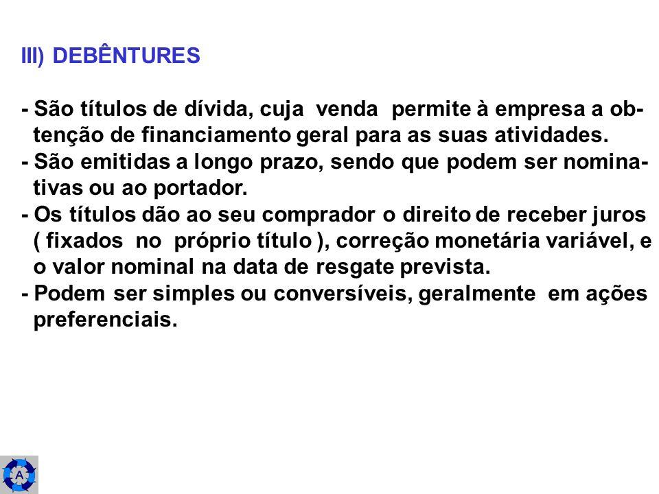 III) DEBÊNTURES - São títulos de dívida, cuja venda permite à empresa a ob- tenção de financiamento geral para as suas atividades. - São emitidas a lo