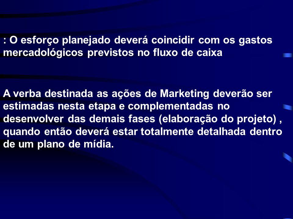 : O esforço planejado deverá coincidir com os gastos mercadológicos previstos no fluxo de caixa A verba destinada as ações de Marketing deverão ser es