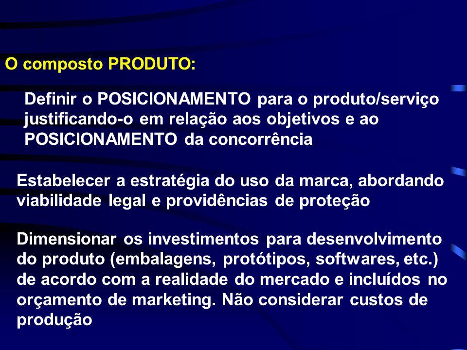 O composto PRODUTO: Definir o POSICIONAMENTO para o produto/serviço justificando-o em relação aos objetivos e ao POSICIONAMENTO da concorrência Estabe
