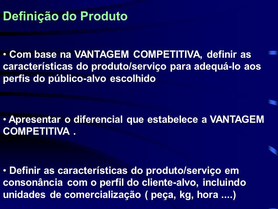 Definição do Produto Definir as características do produto/serviço em consonância com o perfil do cliente-alvo, incluindo unidades de comercialização