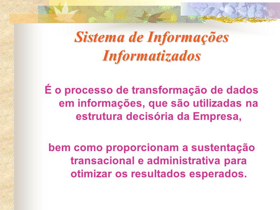 Sistema de Informações Informatizados É o processo de transformação de dados em informações, que são utilizadas na estrutura decisória da Empresa, bem