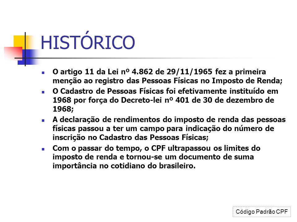 HISTÓRICO O artigo 11 da Lei nº 4.862 de 29/11/1965 fez a primeira menção ao registro das Pessoas Físicas no Imposto de Renda; O Cadastro de Pessoas F