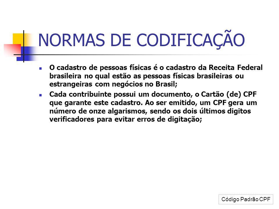 NORMAS DE CODIFICAÇÃO O cadastro de pessoas físicas é o cadastro da Receita Federal brasileira no qual estão as pessoas físicas brasileiras ou estrang