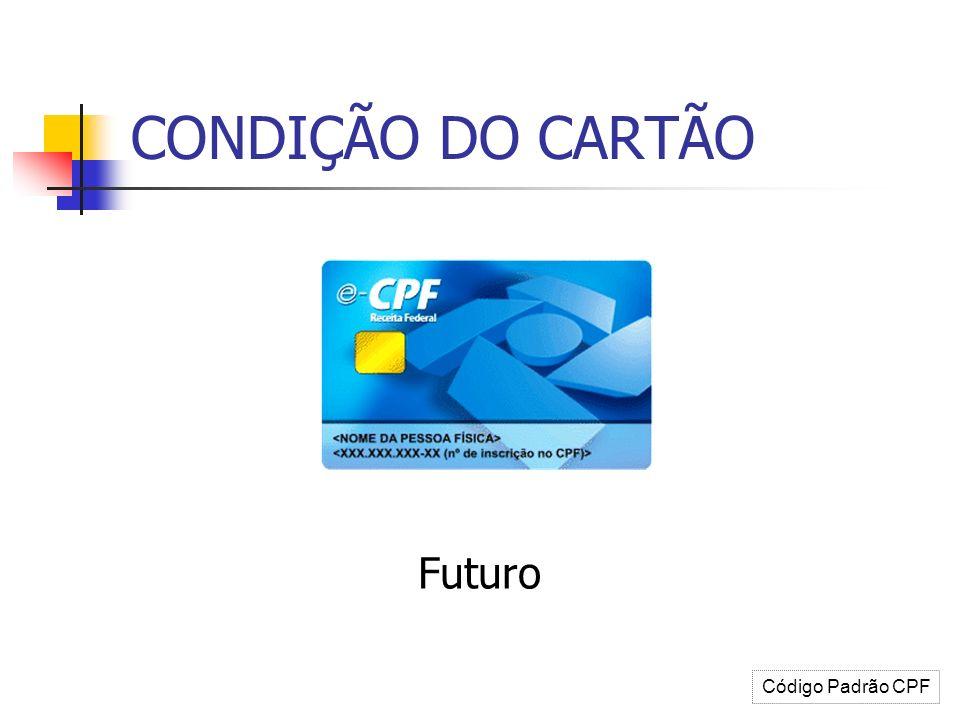 CONDIÇÃO DO CARTÃO Futuro Código Padrão CPF