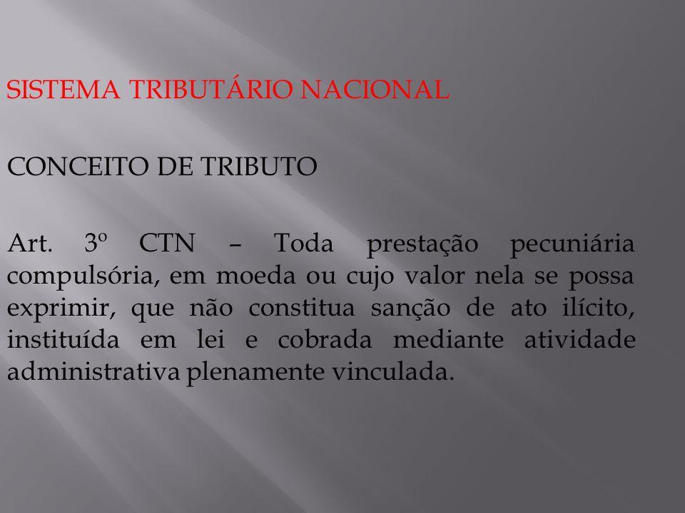 SISTEMA TRIBUTÁRIO NACIONAL CONCEITO DE TRIBUTO Art. 3º CTN – Toda prestação pecuniária compulsória, em moeda ou cujo valor nela se possa exprimir, qu
