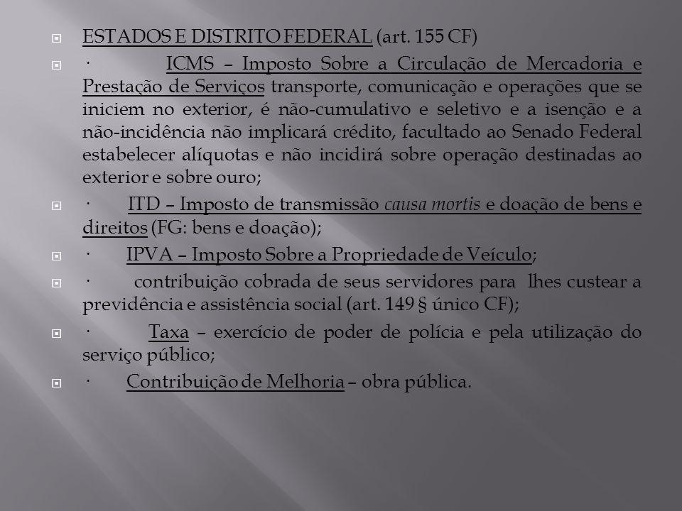 ESTADOS E DISTRITO FEDERAL (art. 155 CF) · ICMS – Imposto Sobre a Circulação de Mercadoria e Prestação de Serviços transporte, comunicação e operações