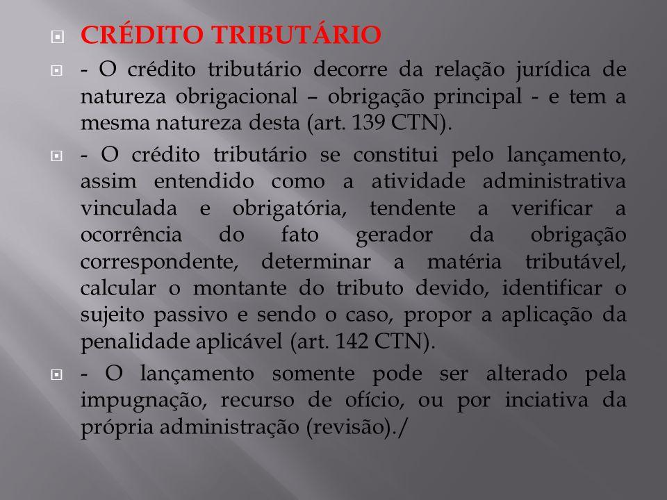 CRÉDITO TRIBUTÁRIO - O crédito tributário decorre da relação jurídica de natureza obrigacional – obrigação principal - e tem a mesma natureza desta (a