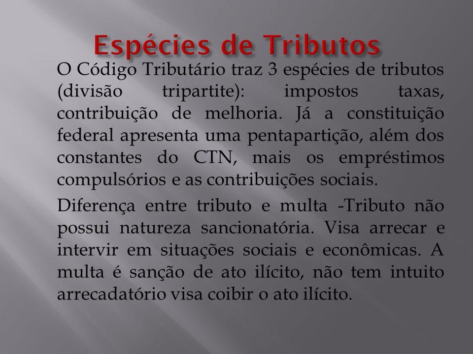 O Código Tributário traz 3 espécies de tributos (divisão tripartite): impostos taxas, contribuição de melhoria. Já a constituição federal apresenta um