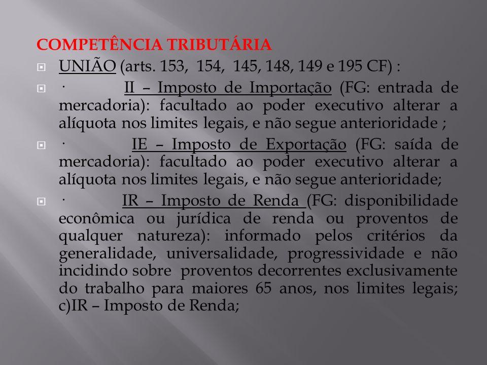 COMPETÊNCIA TRIBUTÁRIA UNIÃO (arts. 153, 154, 145, 148, 149 e 195 CF) : · II – Imposto de Importação (FG: entrada de mercadoria): facultado ao poder e