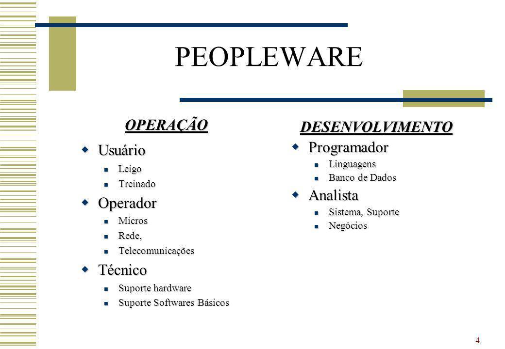 4 PEOPLEWARE OPERAÇÃO Usuário Usuário Leigo Leigo Treinado Treinado Operador Operador Micros Micros Rede, Rede, Telecomunicações Telecomunicações Técn