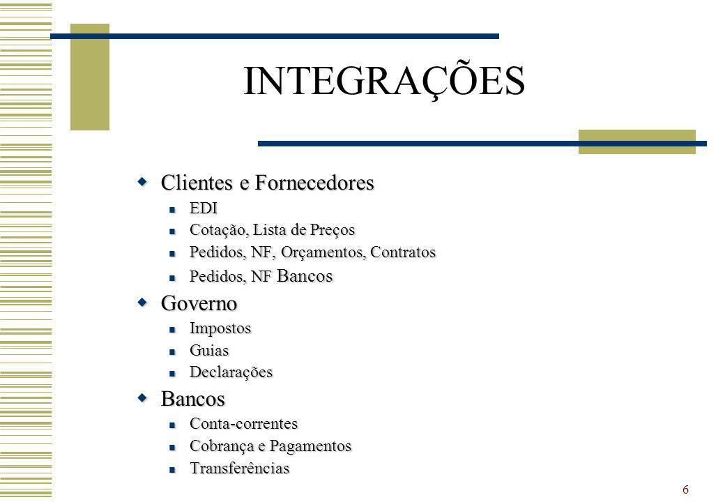 6 INTEGRAÇÕES Clientes e Fornecedores Clientes e Fornecedores EDI EDI Cotação, Lista de Preços Cotação, Lista de Preços Pedidos, NF, Orçamentos, Contr