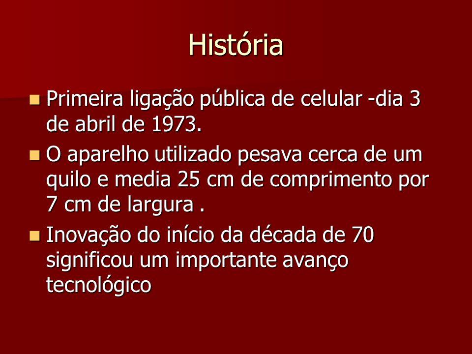 História Primeira ligação pública de celular -dia 3 de abril de 1973. Primeira ligação pública de celular -dia 3 de abril de 1973. O aparelho utilizad
