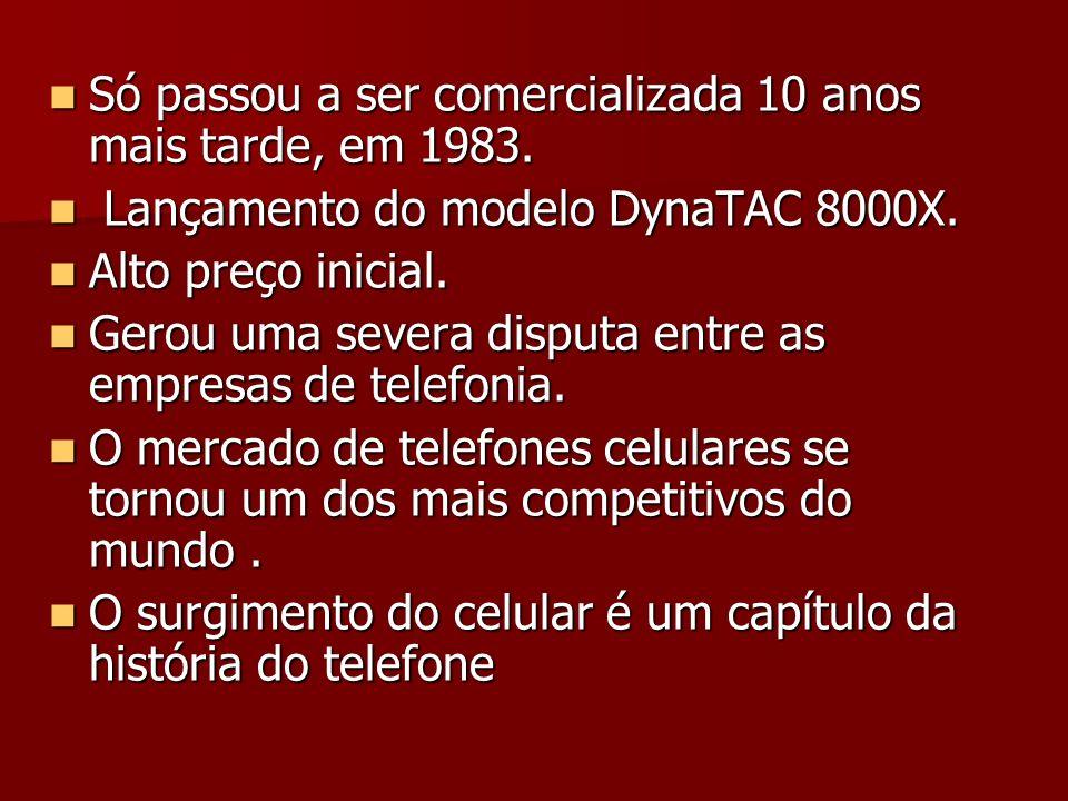 Só passou a ser comercializada 10 anos mais tarde, em 1983. Só passou a ser comercializada 10 anos mais tarde, em 1983. Lançamento do modelo DynaTAC 8