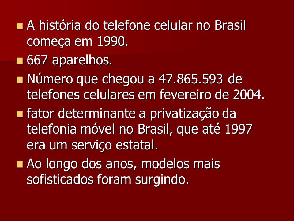 A história do telefone celular no Brasil começa em 1990. A história do telefone celular no Brasil começa em 1990. 667 aparelhos. 667 aparelhos. Número