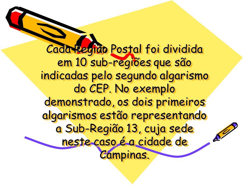 Cada Região Postal foi dividida em 10 sub-regiões que são indicadas pelo segundo algarismo do CEP. No exemplo demonstrado, os dois primeiros algarismo