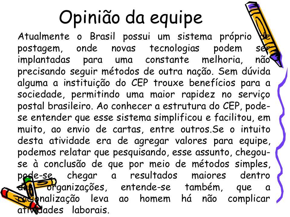 Opinião da equipe Atualmente o Brasil possui um sistema próprio de postagem, onde novas tecnologias podem ser implantadas para uma constante melhoria,